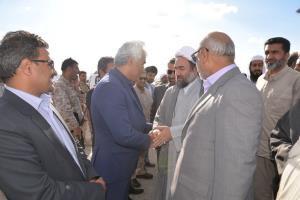 مراسم استقبال از حضرت آیت الله محامی توسط دکتر ریگی و مسئولین شهرستان سراوان در شهر گشت